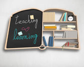 Book shape bookshelf and blackboard — Stock Photo