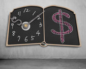 Book shape blackboard with clock hands and money symbol drawing — Stock Photo