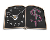 Clock face with money symbol doodles on blackboard — Stock Photo