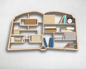 Wooden bookshelf in book shape on wall — Stock Photo