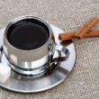 Stock Photo: Cup of black coffee with cinnamon