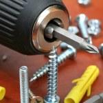 Drills, screws & Plugs — Stock Photo