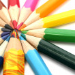 Color wooden pencils around of the multi-colour brother — Stock Photo
