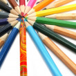 Stock Photo: Color pencils have settled down around of colour leader