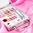 Makeup briefcase on pink satin — Stock Photo