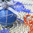 Royalty-Free Stock Photo: Christmas sphere of dark blue color with a pattern