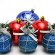 Set of celebratory christmas-tree decorations of blue color — Stock Photo