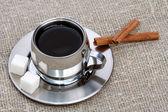 Taza de café con canela — Foto de Stock