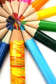 Color pencils around of the multi-colour brother — Stock Photo