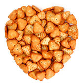 Heart made from salty cookies — Stock Photo