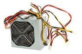 Computer power supply with fan and wires — Stock Photo