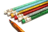 Set of celebratory pencils about a multi-colour pencil — Stock Photo