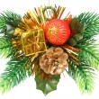 Christmas ornament in the form of a branch with gift — Stock Photo #14130808