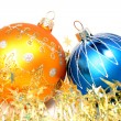 Two New Year's spheres of yellow and blue color 2 — Stock Photo