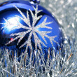 Stock Photo: New Year's glass sphere of dark blue color 3