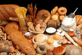 Assorted breads and ingredients — Stock Photo