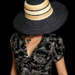 Stock Photo: The young girl in a straw hat