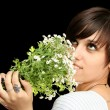 The young beautiful girl with flowers — Stock Photo #14441117