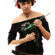 The young girl with building drill in hands — Stock Photo #14442073