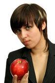 Mladé podnikatelky s červené jablko — Stock fotografie