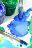 Tools of the artist: paints, brushes and a paper — Stock Photo