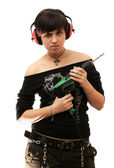 The young girl with building drill in hands — Foto de Stock