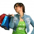 The happy girl with purchases — Stock Photo