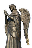 Bronze sculpture of a praying angel on a white background 1 — Stock Photo