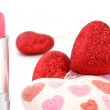 Lipstick and hearts - Stock Photo