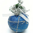 Christmas sphere of dark blue color with a pattern — Stock Photo #14460973