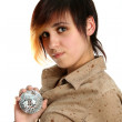 The young girl holds mirror sphere in hand — Stock Photo