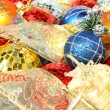 Set of multi-coloured New Year's ornaments and ribbons 1 — Stock Photo