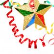 Multi-coloured celebratory tinsel and christmas star on a white — Stock Photo #14461351
