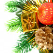 New Year's ornament in the form of a branch with cone — Stock Photo