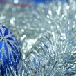 Christmas glass sphere of dark blue color 4 — Stock Photo