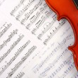 Violin on music book — Stock Photo