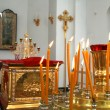 Internal furniture and candles of an orthodox temple 5 — Stock Photo