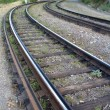 Stock Photo: Rails of a tram way and old cross ties