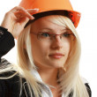 Attractive female architect in hardhat — Stock Photo