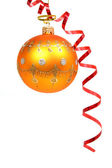 Christmas sphere of orange color and red streamer 2 — Stock Photo