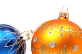 橙色和蓝色颜色的两个圣诞节领域 — 图库照片
