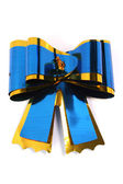 The blue isolated celebratory bow for a gift — Stock Photo