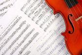Violin on music book — Stock Photo