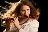 Beautiful Flutist — Stock Photo