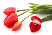 Red tulips and Jewelry Box with ring — Photo