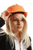 Attrayant architecte femelle en casque — Photo