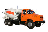The new building lorry of red color with a concrete mixer — Stock Photo