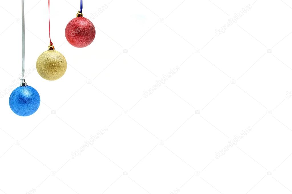 New Year's celebratory ornaments in the form of glass spheres of three colors, (look similar images in my portfolio) — Stock Photo #14461489