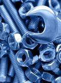 Wrench, nuts and bolts — Stock Photo