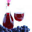Blue grape cluster and red wine, white background — Stock Photo